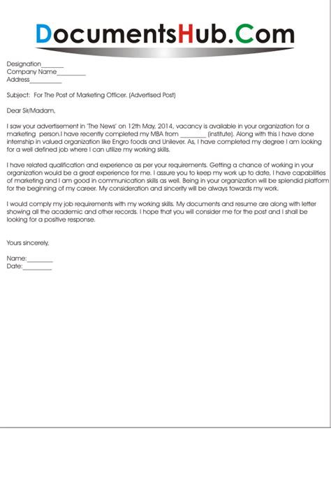 cover letter for marketing executive sle cover letter for marketing documentshub