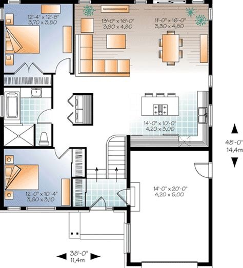 modern 2 bedroom house plans sleek 2 bedroom contemporary house plan 22333dr 1st