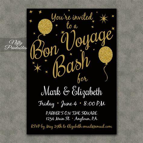 Bon Voyage Invitation Templates Free by Bon Voyage Invitations Printable Black Gold Bon Voyage