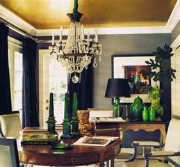 Emerald Green Dining Room Gray Walls Navy Draperies Gold Ceiling And Emerald
