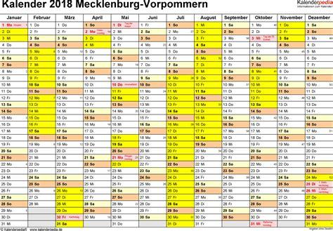 Kalender 2018 Schulferien Mv Ferien Mecklenburg Vorpommern 2018 220 Bersicht Der