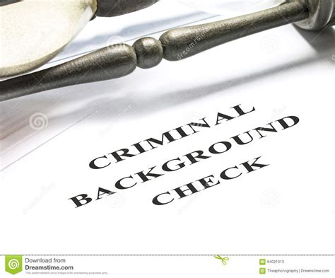 Criminal Record Check Application Criminal Background Check Stock Photo Image 64021013