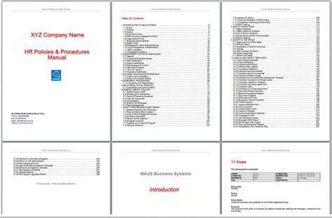 hr procedures manual template hr policies manual australian written maus