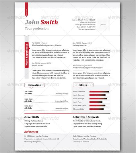 Modelo Cv En Espa A Resume Cover Letter By Punedesign Graphicriver