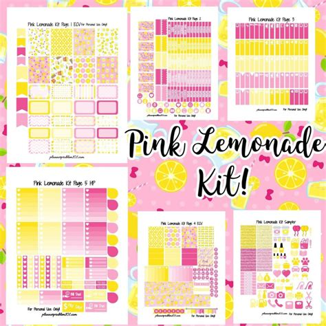 printable planner kits pink lemonade kit free printable planner stickers
