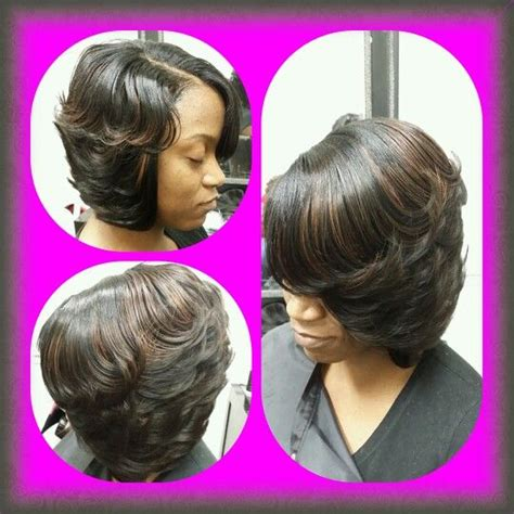 sew in swing bob hairstyle layered bob with feather curls styles by cola food