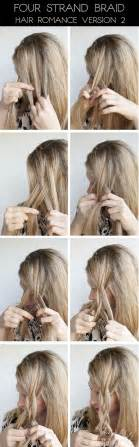 how to braid hair step by step hairstyle tutorial four strand braids and slide up