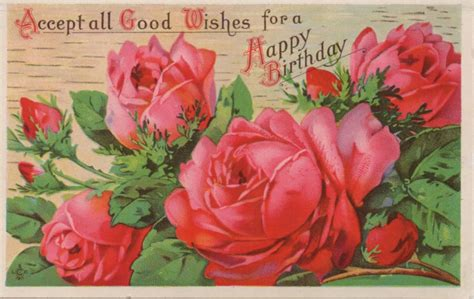 digital stamps  vintage printable happy birthday roses chainimage