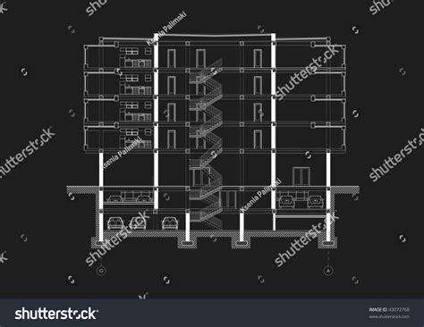 autocad section blackwhite cad architectural five story building stock