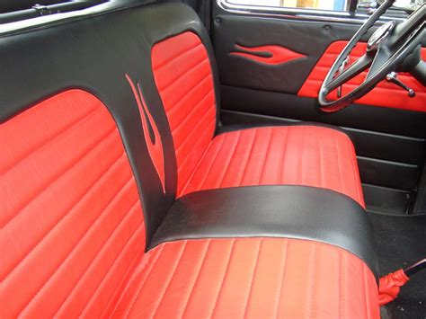 chevy truck upholstery black red leather upholstery for a 53 chevy pu from