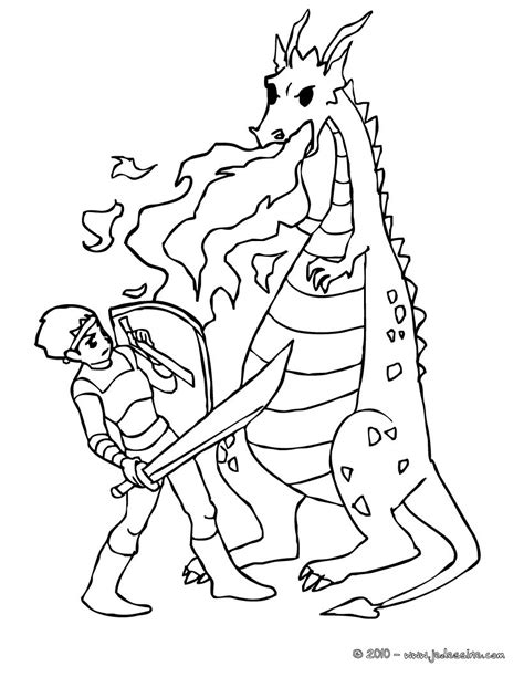 coloring pages of fighting knights coloriages un chevalier qui combat les flammes du dragon