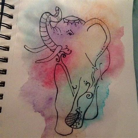 watercolor elephant tattoo elephant watercolor tattoo sketchy pinterest