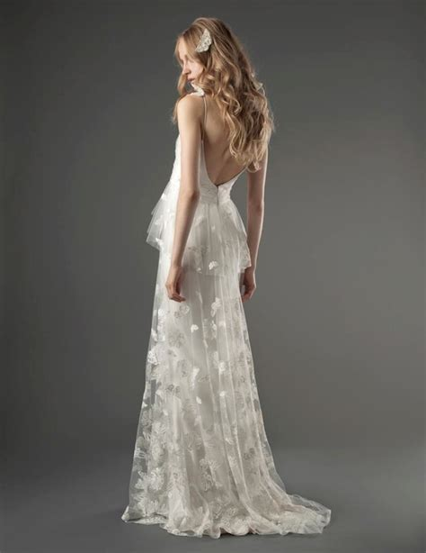romantic low back wedding dress with unique onewed com