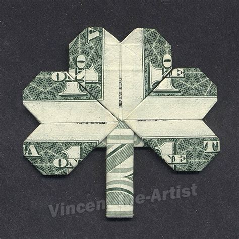 Origami Bills - dollar bill origami shamrock leaf luck by