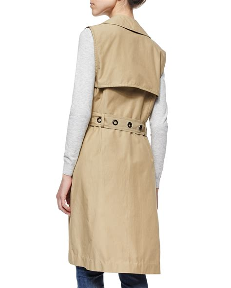Sleeveless Trench Coat lyst milly sleeveless belted waterproof trench coat in