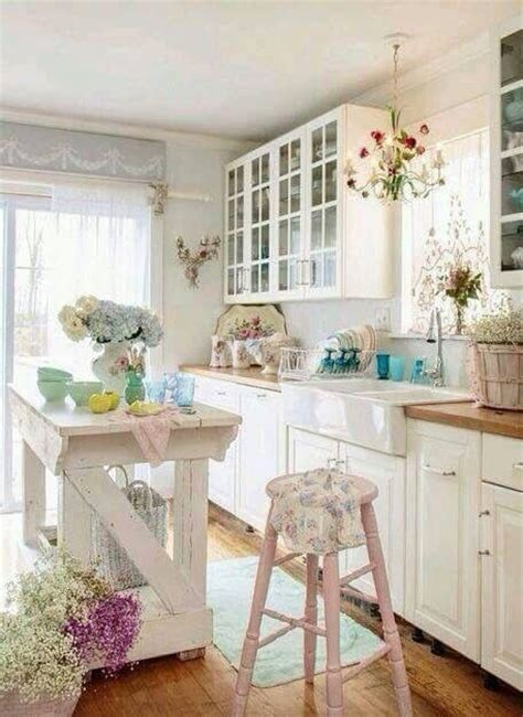 32 sweet shabby chic kitchen decor ideas to try shelterness picture of whitewashed and distressed kitchen