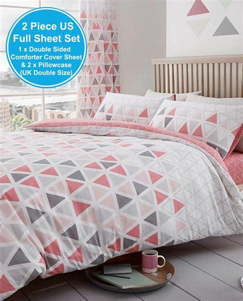 geo triangle duvet cover set bedding teal pink grey