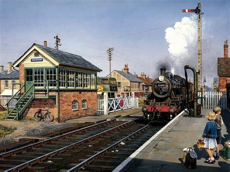painting trains steam locomotive aproching sattion steam painting