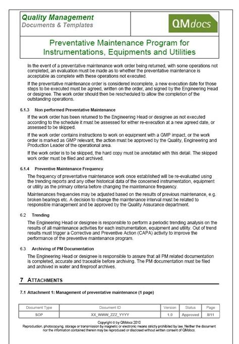 maintenance procedure template preventive maintenance procedure images