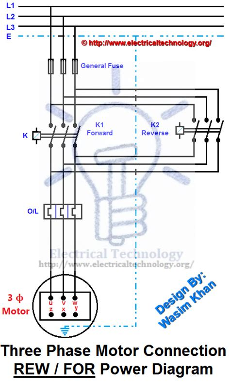 rev for three phase motor connection power and