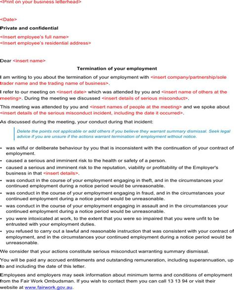 termination letter template due to misconduct letter of termination of employment summary