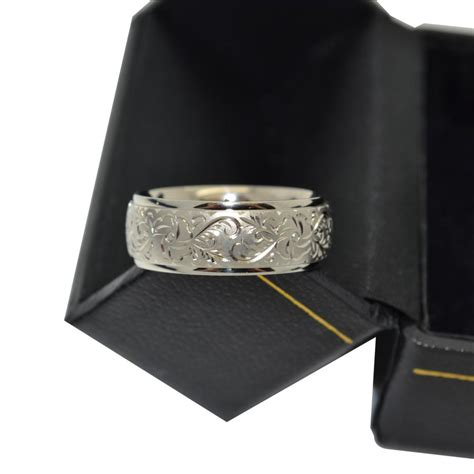 engraved flower wedding ring wide band platinum 7mm