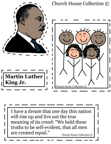 printable version of mlk i have a dream speech martin luther king jr craft cutout activity