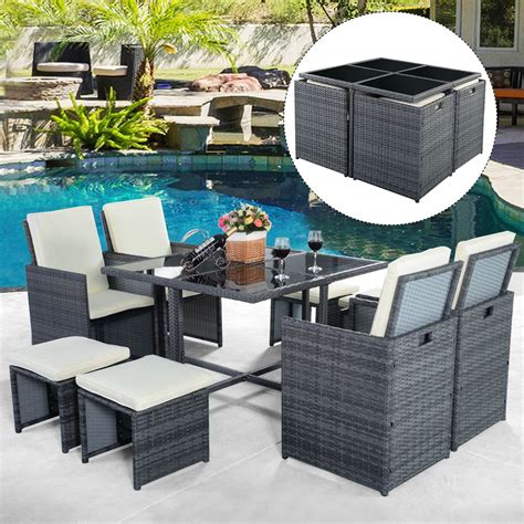 9pc Rattan Garden Home Furniture Dining Table Chairs Set Grey Wicker Patio Furniture