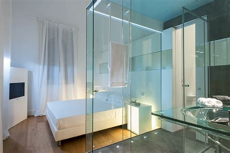 glass wall between bedroom and bathroom architecture chic bedroom design interior with open