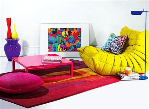 colorful recliners bright area rugs add a pop of color