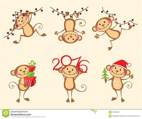 new year illustration happy monkey new year set stock illustration