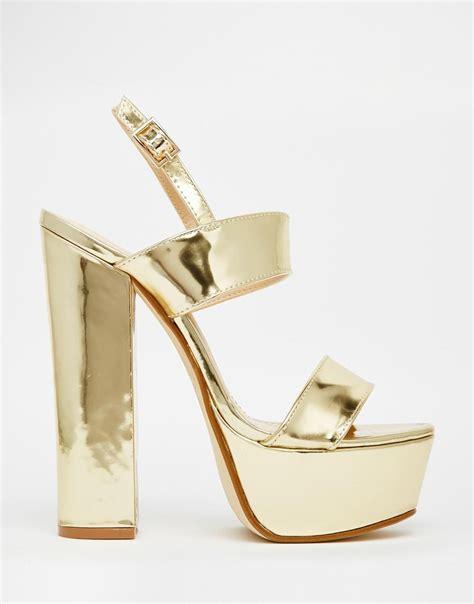 Sandal Platform Wedges Slop Gold lyst desire shakira gold platform heeled sandals