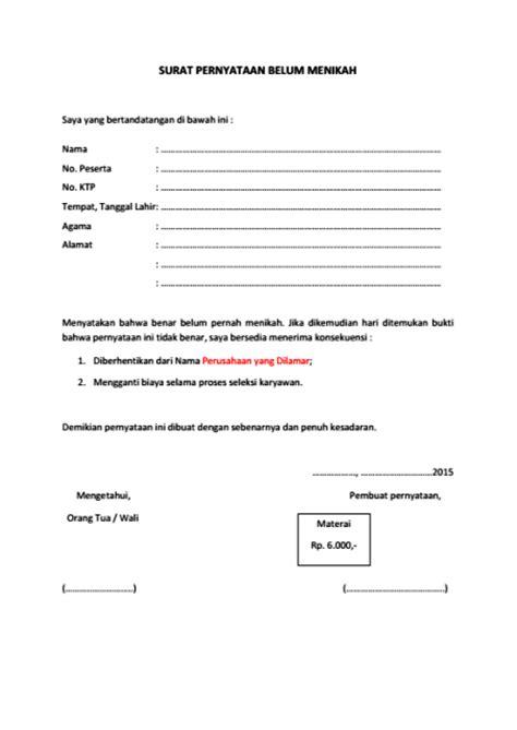 dokumen pekerjaan contoh surat pernyataan belum menikah
