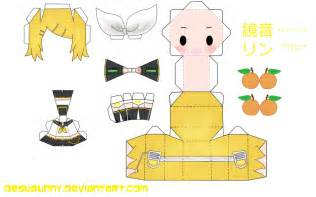 origami len kagamine rin papercraft by tsunyandere on deviantart