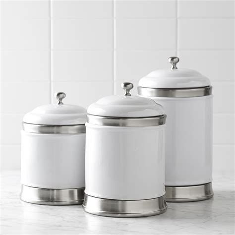 white kitchen canister williams ceramic canisters set of 3 williams sonoma