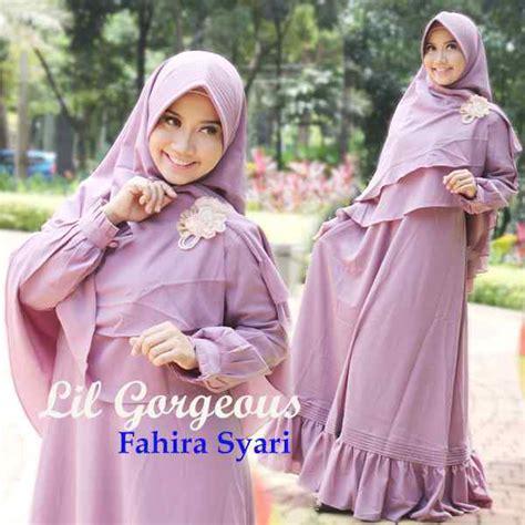 Ummi Syari Ungu Gamis Syar39i Terbaru Busana Muslim Wanita fahira ungu lavender baju muslim gamis modern