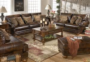 Living Room Furniture History Traditional Brown Bonded Leather Sofa Loveseat Living Room