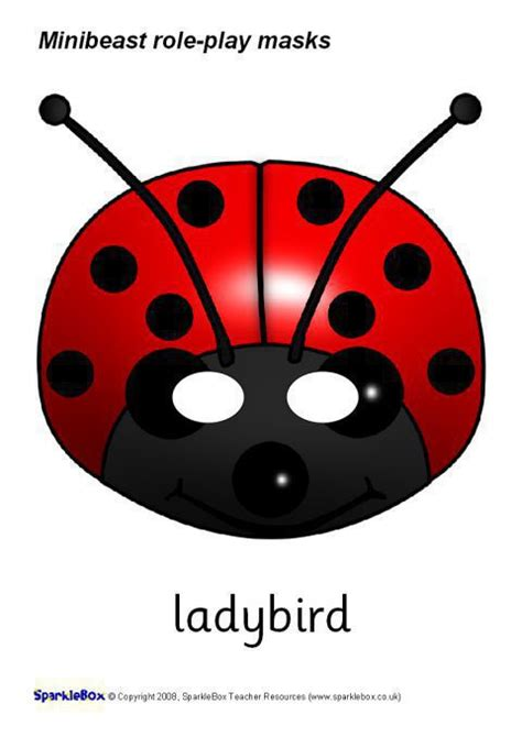 printable ladybird mask minibeast role play masks sb1188 sparklebox