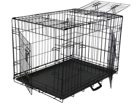 crate with divider 3 door folding pet cage crate kennel with divider and rubber ebay