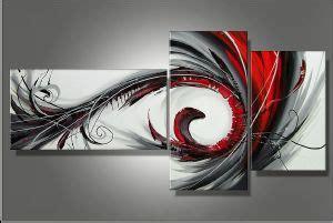 Tableau Triptyque Rouge Et Gris