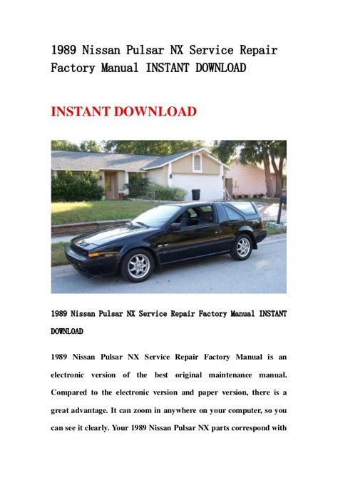 service and repair manuals 1993 nissan nx electronic toll collection 1989 nissan pulsar nx service repair factory manual instant download