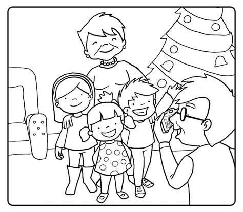 dibujos ni241os en navidad colorea abuelo fotografiando a sus nietos en navidad