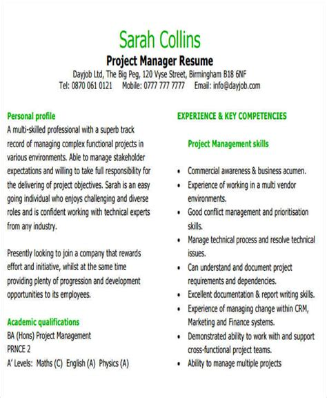 Business Project Manager Sle Resume 25 modern business resume templates free premium templates