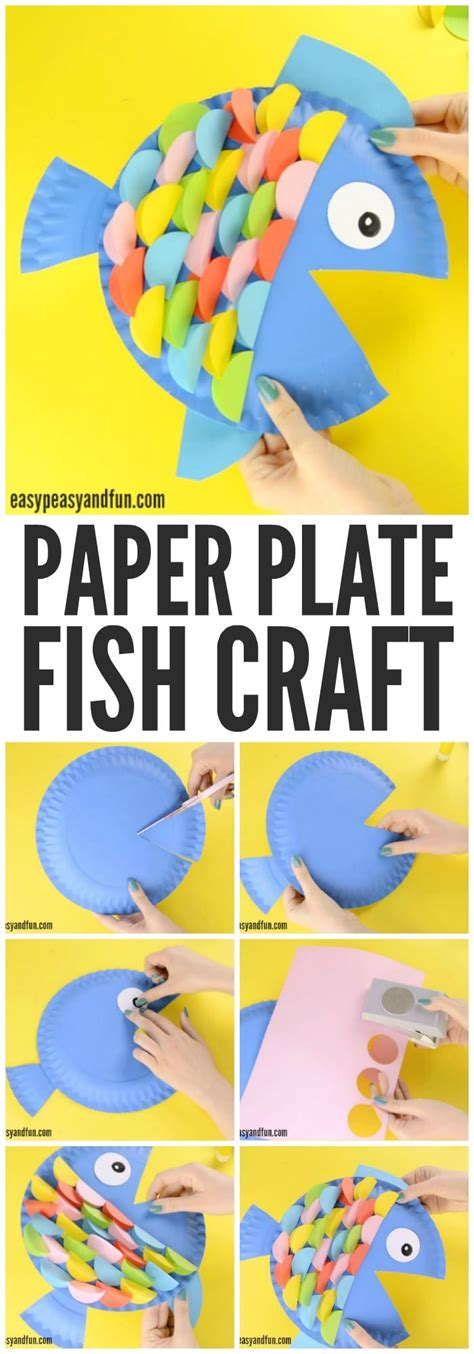 How To Make A Paper Plate Fish - paper plate fish craft rainbow paper circles easy