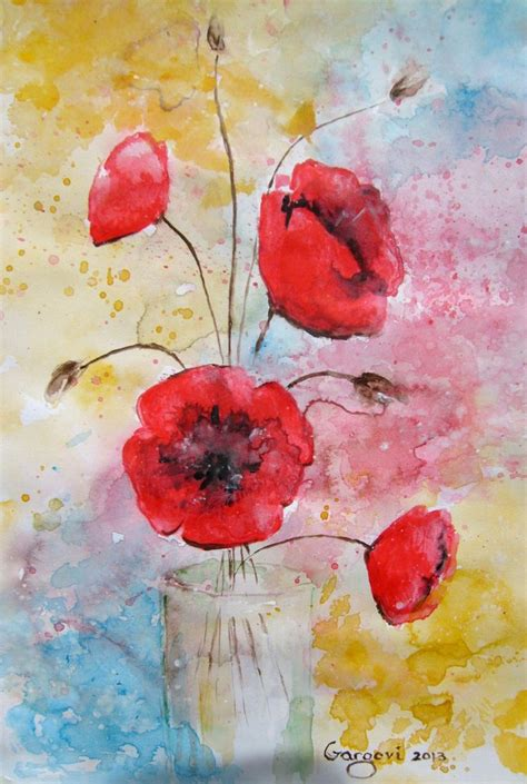 libro watercolour flower portraits contemporary paintings poppy flowers and red poppies on