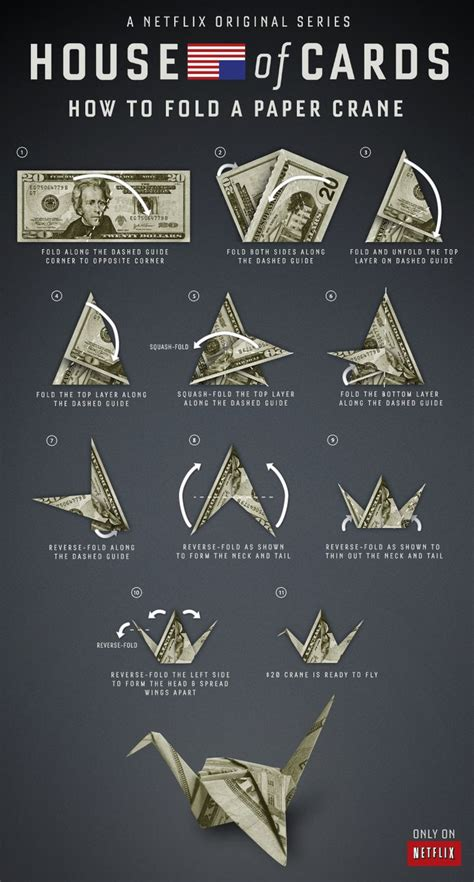 Money Origami Crane - how to fold a paper crane just like underwood