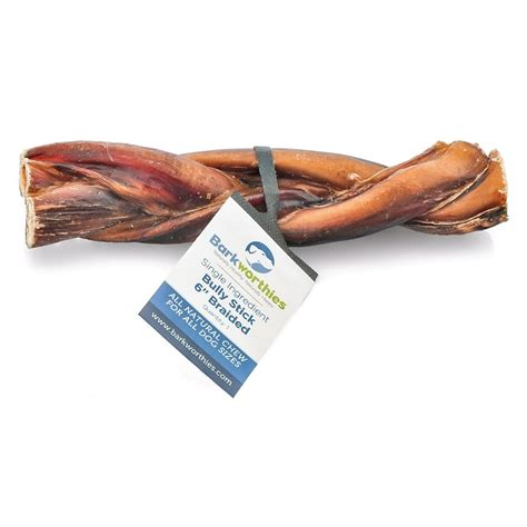 bully stick for dogs barkworthies braided bully sticks treats 6 quot naturalpetwarehouse