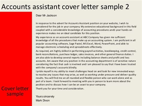 cover letter for accounting assistant accounts assistant cover letter