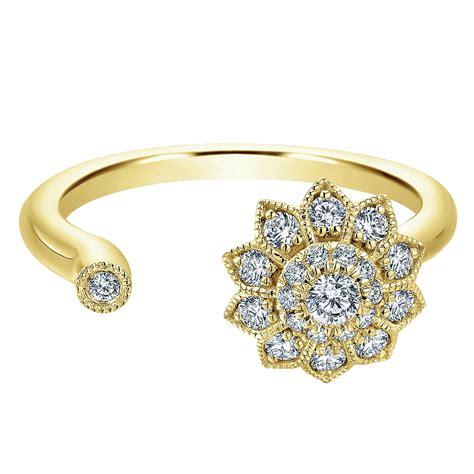 flower open ring gabriel co rings 14k flower ring 30ctw