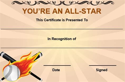 printable all star certificates 20 attention grabbing free printable baseball